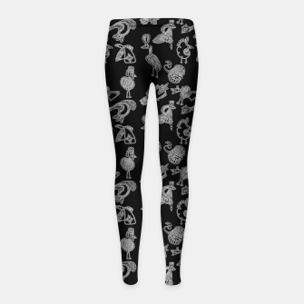 Thumbnail image of Sketched inked birds fairy fantasy black Girl's leggings, Live Heroes