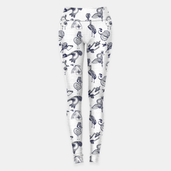 Sketched inked birds fairy fantasy white Leggings thumbnail image