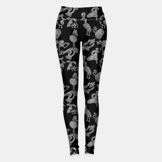 Thumbnail image of Sketched inked birds fairy fantasy black Leggings, Live Heroes
