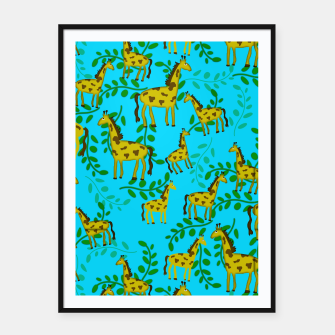 Thumbnail image of Cute Giraffes Pattern Framed poster, Live Heroes