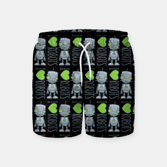 Thumbnail image of I Love Robots Swim Shorts, Live Heroes