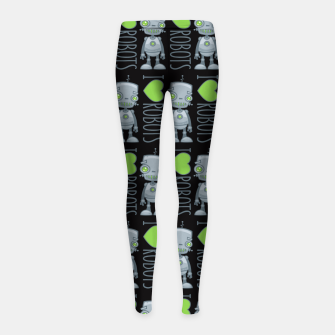 Thumbnail image of I Love Robots Girl's leggings, Live Heroes