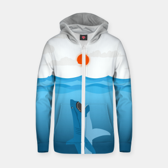Thumbnail image of Shark Eats Sun Zip up hoodie, Live Heroes