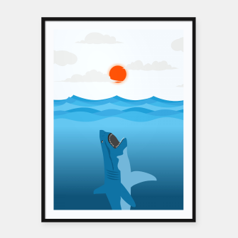 Thumbnail image of Shark Eats Sun Framed poster, Live Heroes
