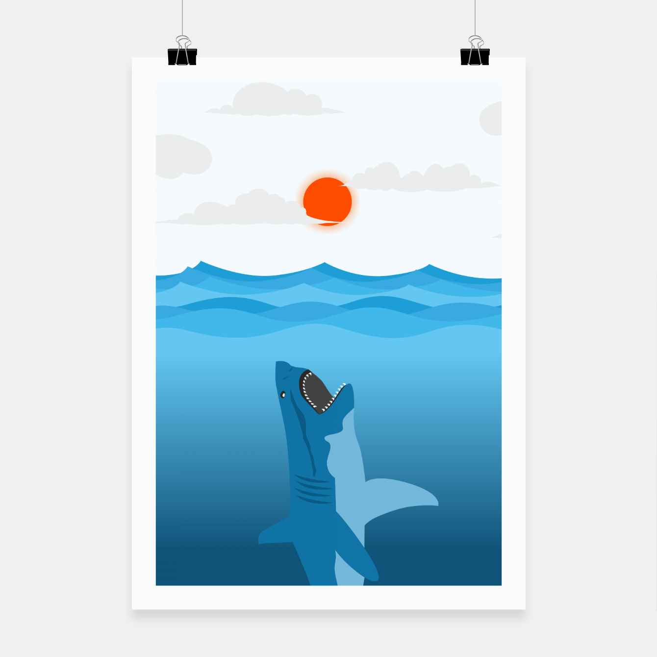 Image of Shark Eats Sun Poster - Live Heroes