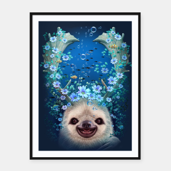 Thumbnail image of SLOTH HORNS UP Framed poster, Live Heroes