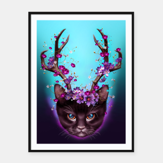 Thumbnail image of CAT HORNS UP Framed poster, Live Heroes