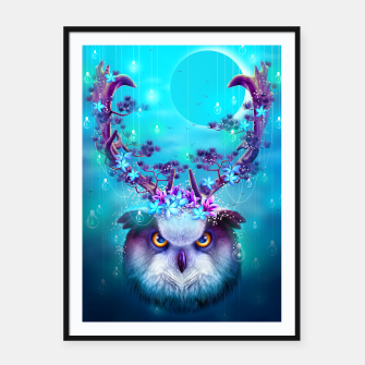 Thumbnail image of OWL HORNS UP Framed poster, Live Heroes