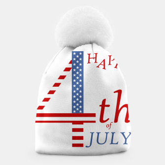 Thumbnail image of 4th of july Independence day greeting- US flag colors and stylized lettering Beanie, Live Heroes