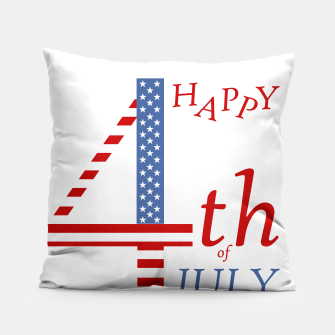 4th of july Independence day greeting- US flag colors and stylized lettering Pillow Bild der Miniatur