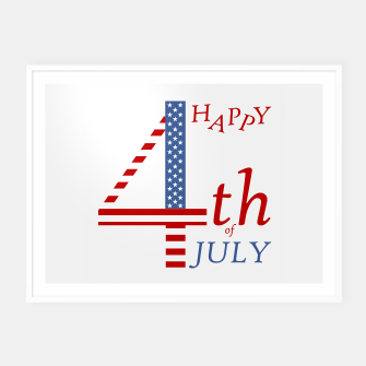 Thumbnail image of 4th of july Independence day greeting- US flag colors and stylized lettering Framed poster, Live Heroes
