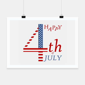 Thumbnail image of 4th of july Independence day greeting- US flag colors and stylized lettering Poster, Live Heroes
