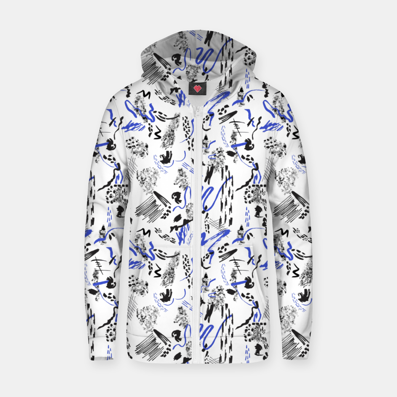 Image of Modern abstract artistic strokes Sudadera con capucha y cremallera  - Live Heroes