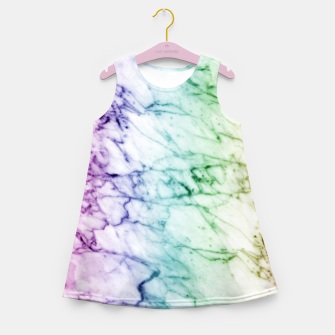 Miniaturka Abstract natural marble texture in rainbow colors Girl's summer dress, Live Heroes