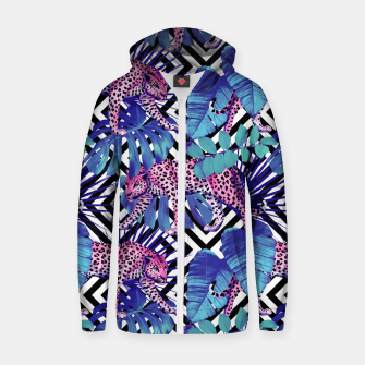 Thumbnail image of Tropical Leopards Zip up hoodie, Live Heroes