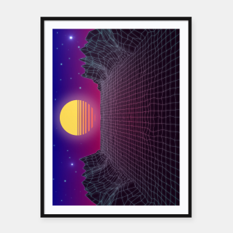 Thumbnail image of Synthwave Sunset Framed poster, Live Heroes