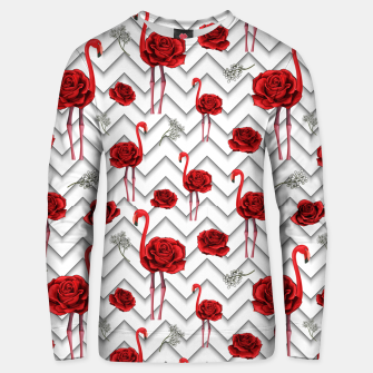 Thumbnail image of Roses Flamingos Unisex sweater, Live Heroes