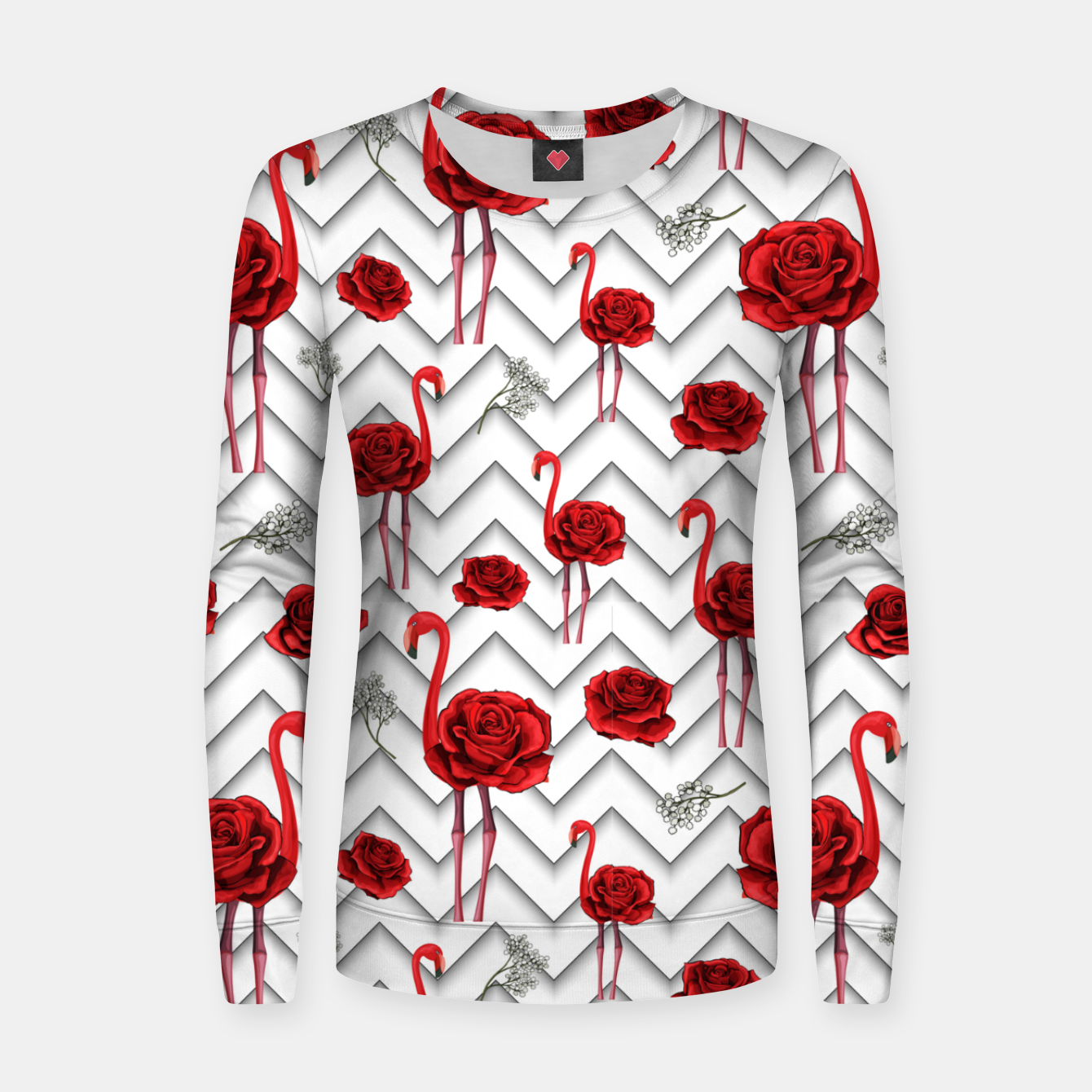 Image of Roses Flamingos Women sweater - Live Heroes
