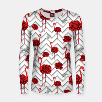 Miniatur Roses Flamingos Women sweater, Live Heroes