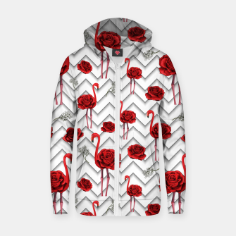 Thumbnail image of Roses Flamingos Zip up hoodie, Live Heroes