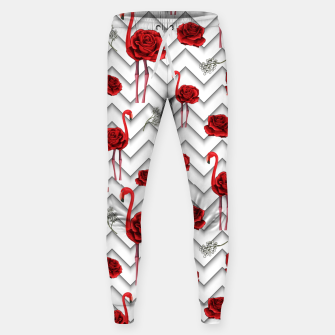 Roses Flamingos Sweatpants miniature