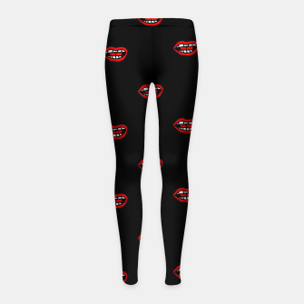 Thumbnail image of Cartoon Style Mouths Drawing Pattern Girl's leggings, Live Heroes