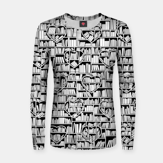 Thumbnail image of Book Lover Heart Library Pattern Women sweater, Live Heroes