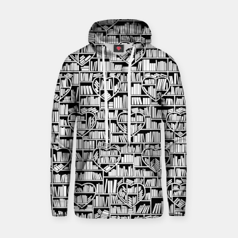 Thumbnail image of Book Lover Heart Library Pattern Hoodie, Live Heroes