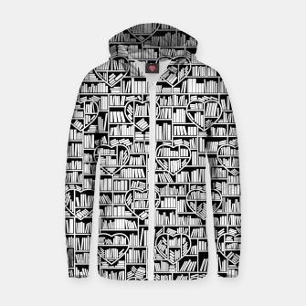 Book Lover Heart Library Pattern Zip up hoodie thumbnail image