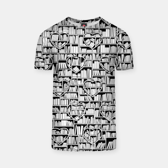 Thumbnail image of Book Lover Heart Library Pattern T-shirt, Live Heroes