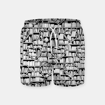 Book Lover Heart Library Pattern Swim Shorts thumbnail image