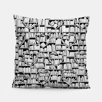 Book Lover Heart Library Pattern Pillow thumbnail image