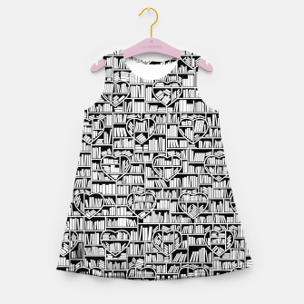 Thumbnail image of Book Lover Heart Library Pattern Girl's summer dress, Live Heroes