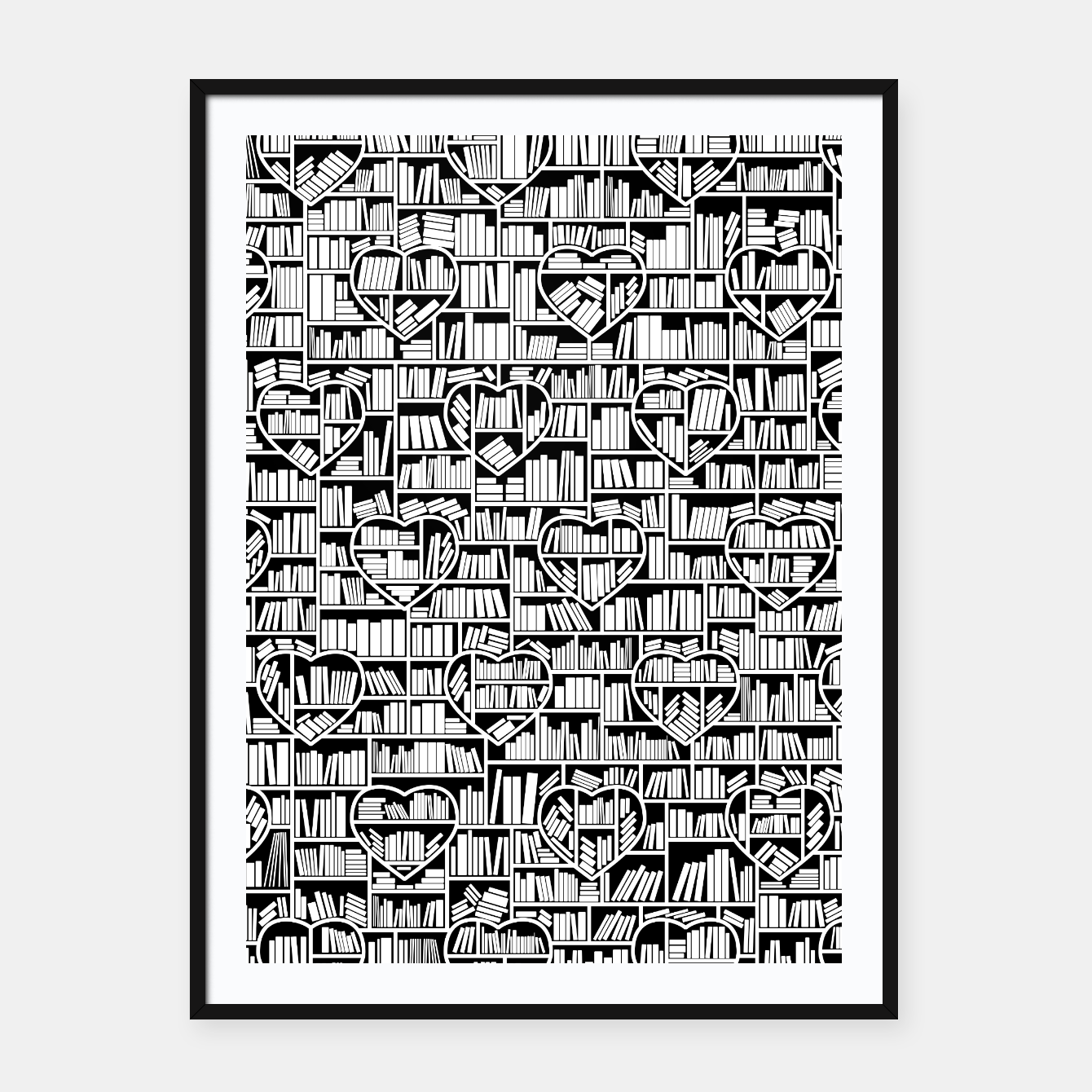 Image of Book Lover Heart Library Pattern Framed poster - Live Heroes