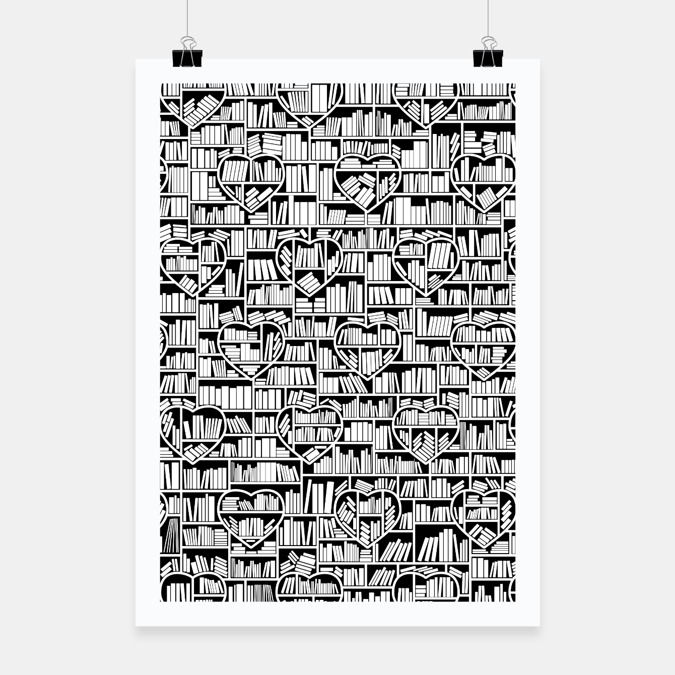 Image of Book Lover Heart Library Pattern Poster - Live Heroes