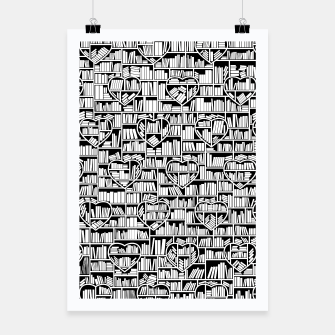 Thumbnail image of Book Lover Heart Library Pattern Poster, Live Heroes