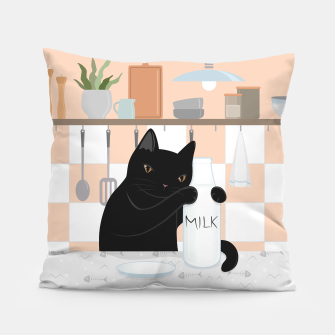 Thumbnail image of Sweet Milky Morning on Cat's Kitchen Pillow, Live Heroes