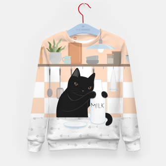 Thumbnail image of Sweet Milky Morning on Cat's Kitchen Kid's sweater, Live Heroes