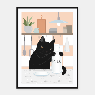 Thumbnail image of Sweet Milky Morning on Cat's Kitchen Framed poster, Live Heroes