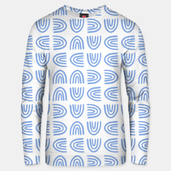 Thumbnail image of Abstract Rainbows Block Pattern | Blue Unisex sweater, Live Heroes