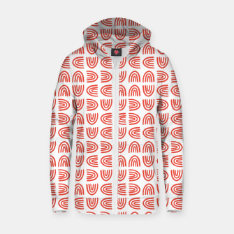 Abstract Rainbows Block Pattern | Red Zip up hoodie thumbnail image