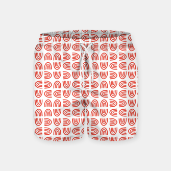 Abstract Rainbows Block Pattern | Red Swim Shorts thumbnail image