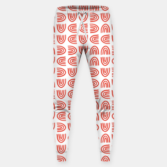 Thumbnail image of Abstract Rainbows Block Pattern | Red Sweatpants, Live Heroes