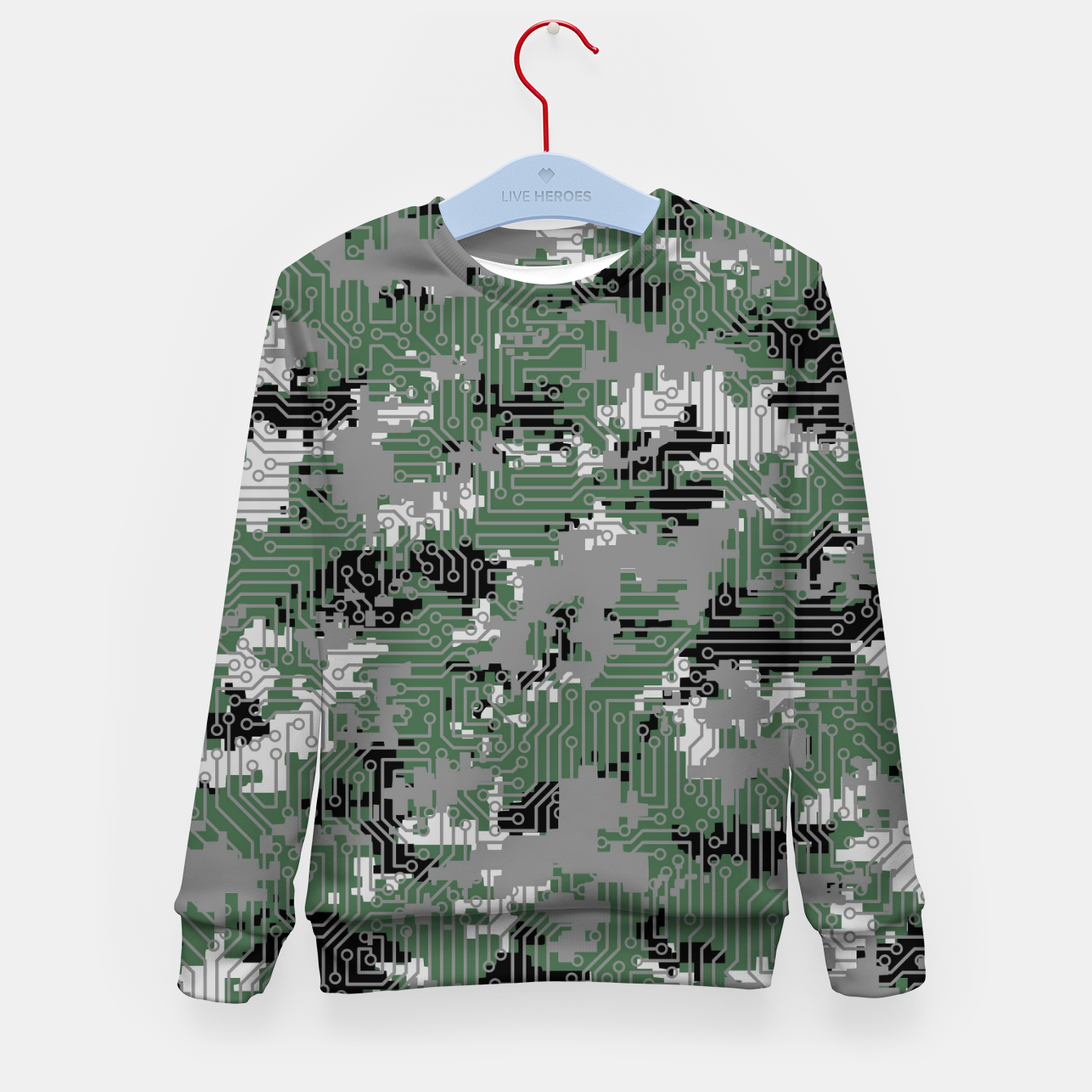 Image of Computer Circuit Camo URBAN GAMER Kid's sweater - Live Heroes