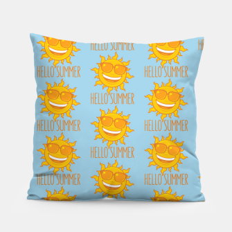Miniatur Hello Summer Sun With Sunglasses Pillow, Live Heroes