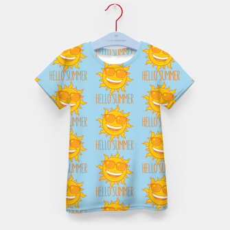 Miniatur Hello Summer Sun With Sunglasses Kid's t-shirt, Live Heroes