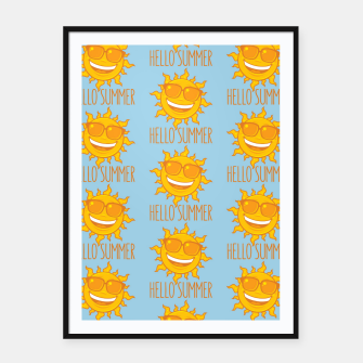 Thumbnail image of Hello Summer Sun With Sunglasses Framed poster, Live Heroes