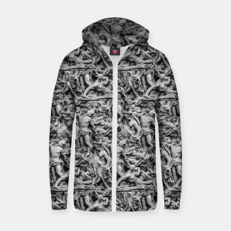Thumbnail image of Sculpture Collage Pattern Zip up hoodie, Live Heroes