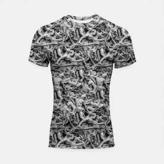 Thumbnail image of Sculpture Collage Pattern Shortsleeve rashguard, Live Heroes