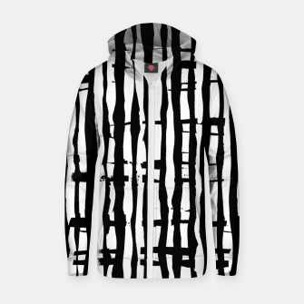 Black and White Stripes Zip up hoodie miniature